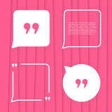 Set of citation on pink striped background Royalty Free Stock Images