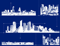 Set of cities on blue background. Stock Photography