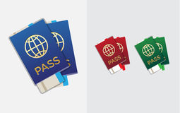 Set of Citizenship or Foreign Passport ID in Vector Colorful Ico Royalty Free Stock Photography