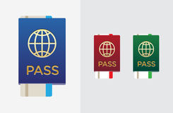 Set of Citizenship or Foreign Passport ID in Vector Colorful Ico Stock Photography