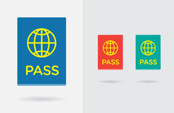 Set of Citizenship or Foreign Passport ID in Vector Colorful Ico Royalty Free Stock Photo