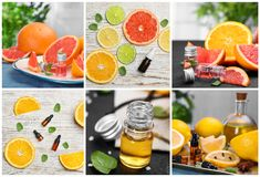 Set with citrus essential oils. On table royalty free stock photo