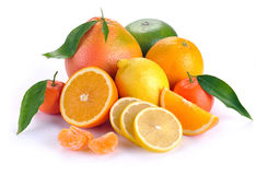 Set of citrus fruit with leaves Royalty Free Stock Images