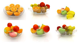 Set of citrus on a glass plate on a white Stock Photos