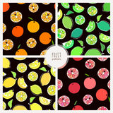 Set of citruse fruit patterns Stock Images