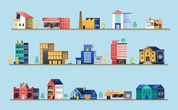 Set of city buildings. Royalty Free Stock Image