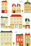 Set of city buildings in flat style Stock Image
