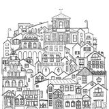 Set of city buildings, houses and streets. Black contour illustration on white background.  stock illustration