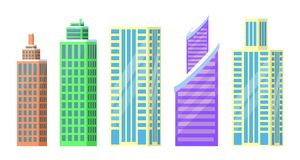 Set of City Buildings Icons Vector Illustration. Set of city buildings icons isolated on white background. Vector illustration with types of office or dwelling Stock Images