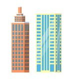Set of City Buildings Icons Vector Illustration. Set of city buildings icons isolated on white background. Vector illustration with types of office or dwelling Stock Photography