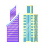 Set of City Buildings Icons Vector Illustration. Set of city buildings icons isolated on white background. Vector illustration with types of office or dwelling Stock Photos