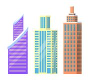 Set of City Buildings Icons Vector Illustration. Set of city buildings icons isolated on white background. Vector illustration with types of office or dwelling Royalty Free Stock Images