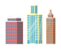 Set of City Buildings Icons Vector Illustration. Set of city buildings icons isolated on white background. Vector illustration with types of office or dwelling Stock Photo