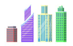 Set of City Buildings Icons Vector Illustration. Set of city buildings icons isolated on white background. Vector illustration with four types of office or Stock Photos