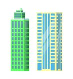 Set of City Buildings Icons Vector Illustration. Set of city buildings icons  on white background. Vector illustration with types of office or dwelling houses Stock Photos