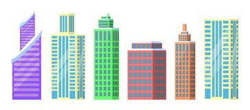 Set of City Buildings Icons Vector Illustration. Set of city buildings icons  on white background. Vector illustration with types of office or dwelling houses Royalty Free Stock Images