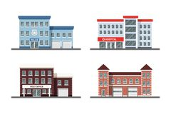 Set of city buildings. Set of city building icons: police station, hospital, post office and fire station. Flat style illustration Royalty Free Stock Image