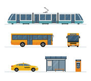 Set of city bus, taxi, tram and bus stop isolated on white background. Stock Image