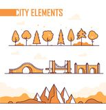 Set of city elements - modern vector isolated objects. In line design style on white background. Different trees, bushes, mountains, hills. Various types of royalty free illustration