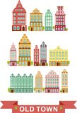 Set of city houses. Colorful old houses in european style vector illustration