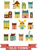 Set of city houses. Colorful houses and other buildings in european style vector illustration