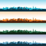 Set of city landscapes at different times of the day. Vector illustration Stock Photo