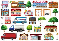 Set of city objects. Illustration royalty free illustration