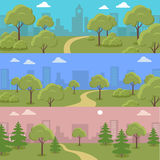 Set of City Park Vector Concepts In Flat Design Royalty Free Stock Photography