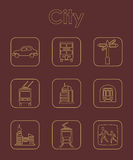 Set of city simple icons Stock Photos