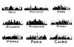 Set of City Skyline Black and White Silhouette. Royalty Free Stock Photography