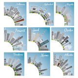 Set of 9 City Skyline with Copy Space. Vector Illustration. Skyline with World Landmarks. Melbourne. Hyderabad. Riyadh. Kuwait. Seoul. Osaka. Brisbane. Hanoi Royalty Free Stock Image