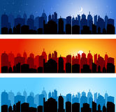 Set of city skyline Stock Image