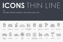 CITY Thin Line Icons. Set of CITY Thin Line Vector Icons and Pictograms Stock Image