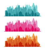Set of cityscape colorful background Royalty Free Stock Photo