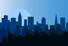 Set of cityscape at dawn. Horizontal banner with metropolis panorama. Royalty Free Stock Images
