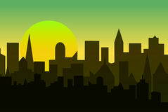 Set of cityscape at dawn. Horizontal banner with metropolis panorama. Stock Photo
