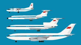 Set of civil planes series Stock Images