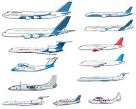 Set of civilian airplananes. Colored vector planes from different countries Royalty Free Stock Photography