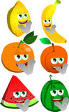 Set of clapping fruits Stock Photos