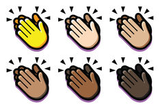 Set Of Clapping Hands Isolated On White Background Royalty Free Stock Images