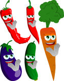 Set of clapping vegetables Royalty Free Stock Photo
