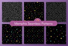 Set of classic abstract memphis seamless pattern. Set of stylish 1980s abstract memphis seamless pattern. Classic texture with simple funky shapes on white Stock Photo