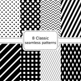 Set of 8 classic black - white seamless patterns. Polka dot backgrounds, Zigzag, striped, diamonds, squares. Vector illustration Vector Illustration