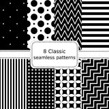 Set of 8 classic black - white seamless patterns. Polka dot backgrounds, Zigzag, striped, floral, stairs. Vector illustration Stock Illustration
