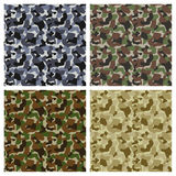 Set Of Classic Camouflage Seamless Patterns Stock Image