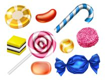 Candy Sweets Set. A set of classic candy sweets confectionery like toffees and lolly pops Stock Images