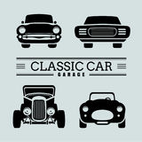 Set classic car front view icon vector illustrations Royalty Free Stock Photography