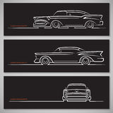 Set of classic car silhouettes in american style. Set of vintage classic car silhouettes in old american style. Front, side and three quarter view. Hand drawn royalty free illustration