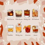 Set of classic cocktails on abstract background. Fresh bar alcoholic drinks menu. Vector sketch illustration collection. Set of classic cocktails for men. Bar vector illustration