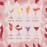 Set of classic cocktails on abstract pink background. Fresh bar alcoholic drinks menu. Vector sketch illustration collection. Hand vector illustration